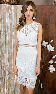 Image of crocheted lace short cocktail dress. Style: LAS-MST-21-LD5346 Front Image