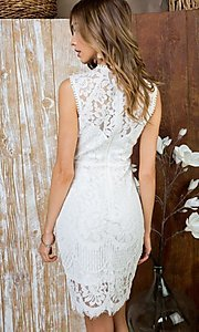 Image of crocheted lace short cocktail dress. Style: LAS-MST-21-LD5346 Back Image