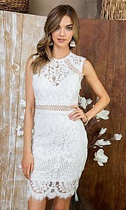 Image of crocheted lace short cocktail dress. Style: LAS-MST-21-LD5346 Detail Image 1