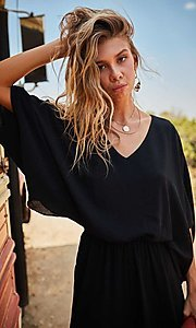 Image of v-neck casual long jumpsuit with billowy sleeves. Style: LAS-MST-21-LR70764 Detail Image 3