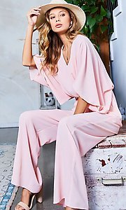 Image of v-neck casual long jumpsuit with billowy sleeves. Style: LAS-MST-21-LR70764 Front Image
