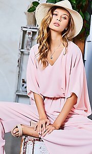 Image of v-neck casual long jumpsuit with billowy sleeves. Style: LAS-MST-21-LR70764 Detail Image 1