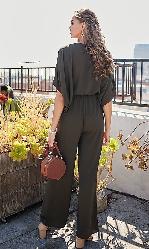 Image of v-neck casual long jumpsuit with billowy sleeves. Style: LAS-MST-21-LR70764 Back Image