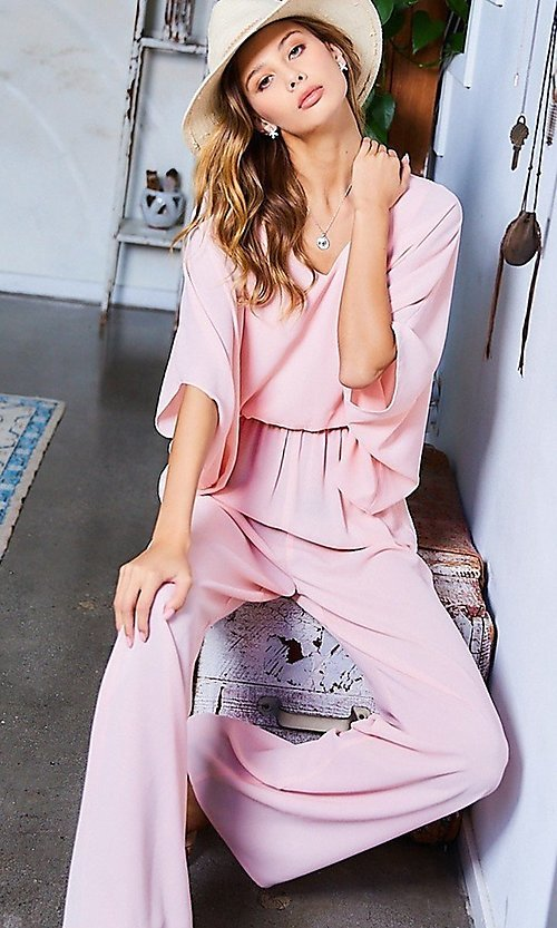 Image of v-neck casual long jumpsuit with billowy sleeves. Style: LAS-MST-21-LR70764 Detail Image 2