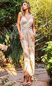 Image of pink champagne sequin formal jumpsuit for prom. Style: LAS-MST-21-LR70808 Detail Image 3