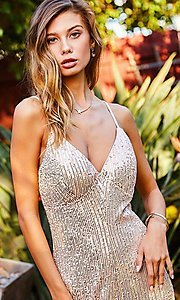 Image of pink champagne sequin formal jumpsuit for prom. Style: LAS-MST-21-LR70808 Detail Image 4