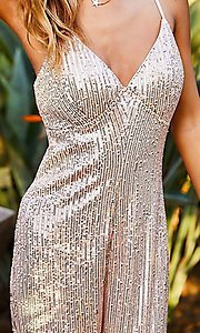 Image of pink champagne sequin formal jumpsuit for prom. Style: LAS-MST-21-LR70808 Detail Image 5