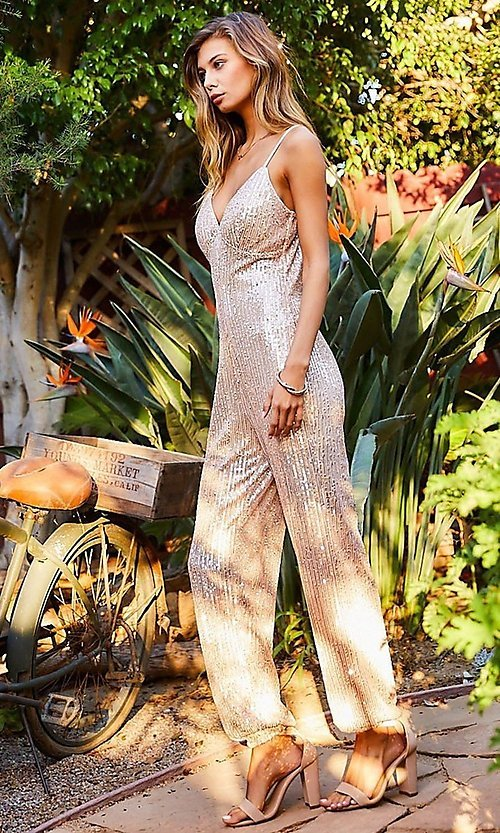 Image of pink champagne sequin formal jumpsuit for prom. Style: LAS-MST-21-LR70808 Front Image