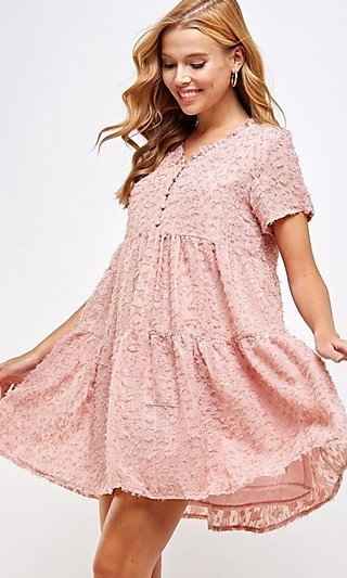 Bohemian-Style Short Tiered Casual Party Dress