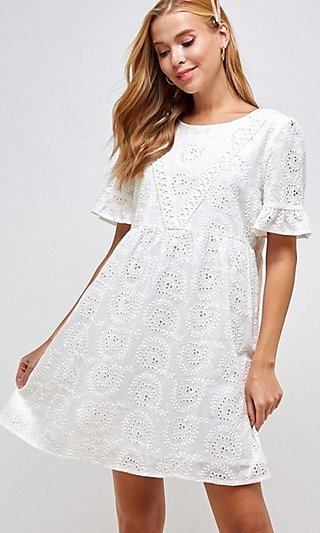 Casual White Eyelet Lace Dress with Short Sleeves