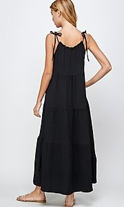 Image of casual long tiered maxi dress with shoulder ties. Style: LAS-SOL-21-S-23733R Back Image