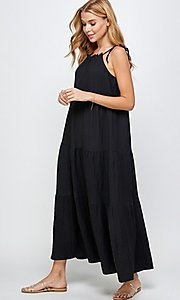 Image of casual long tiered maxi dress with shoulder ties. Style: LAS-SOL-21-S-23733R Detail Image 2