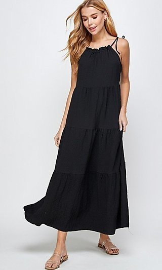 Casual Long Tiered Maxi Dress with Shoulder Ties
