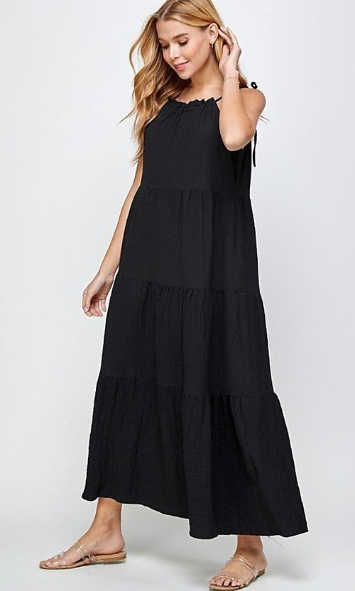 Image of casual long tiered maxi dress with shoulder ties. Style: LAS-SOL-21-S-23733R Detail Image 1