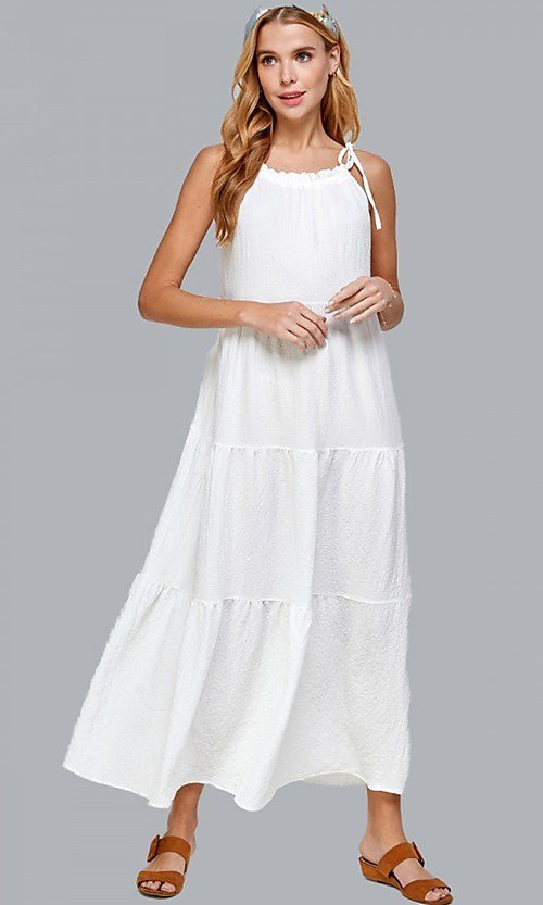 Image of casual long tiered maxi dress with shoulder ties. Style: LAS-SOL-21-S-23733R Front Image