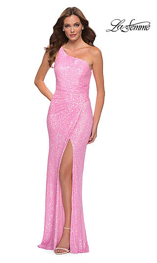 One Shoulder Long Neon Pink Sequin Prom Gown 29654