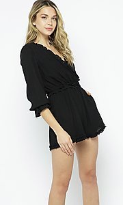 Image of casual short black romper sleeves. Style: LAS-ILL-21-IM6050 Front Image