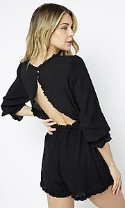 Image of casual short black romper sleeves. Style: LAS-ILL-21-IM6050 Back Image