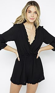 Image of casual short black romper sleeves. Style: LAS-ILL-21-IM6050 Detail Image 1