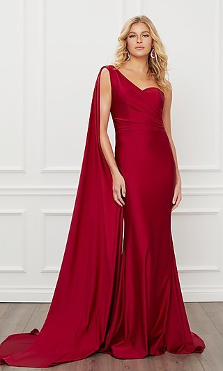 One Shoulder Floor Length Draped Sleeve Long Gown