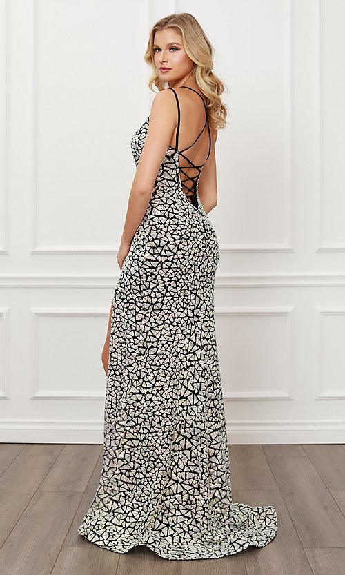 Image of black & silver sequin long formal prom 2021 gown. Style: NA-21-E479 Back Image