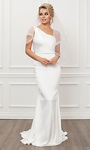 Image of formal one shoulder long white mermaid bridal gown. Style: NA-21-E483 Front Image