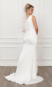 Image of formal one shoulder long white mermaid bridal gown. Style: NA-21-E483 Back Image