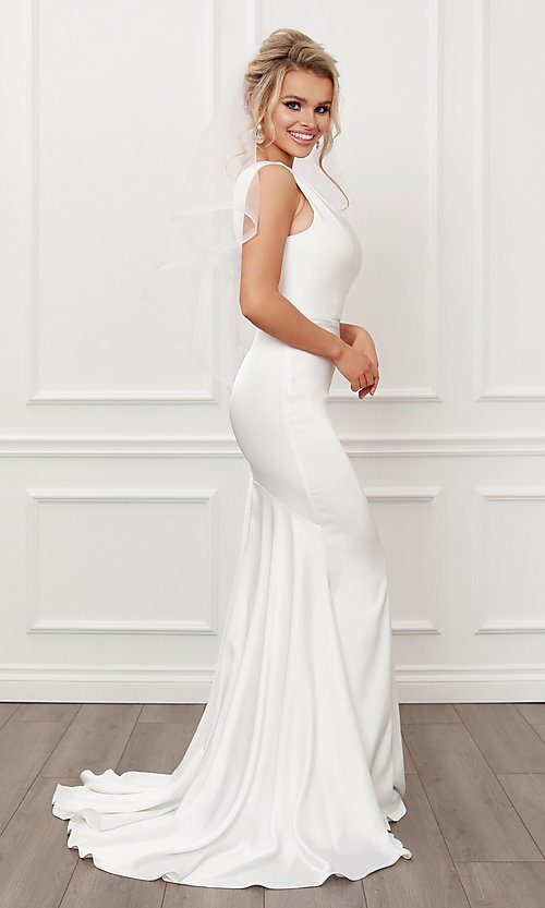 Image of formal one shoulder long white mermaid bridal gown. Style: NA-21-E483 Detail Image 1