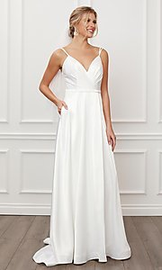 Image of long white satin a-line formal gown with pockets. Style: NA-21-E484 Detail Image 1