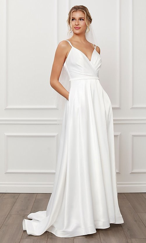 Image of long white satin a-line formal gown with pockets. Style: NA-21-E484 Front Image