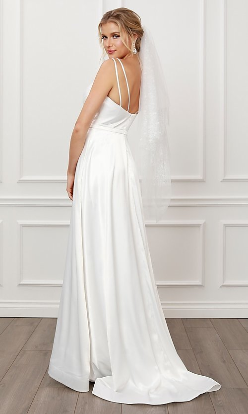 Image of long white satin a-line formal gown with pockets. Style: NA-21-E484 Back Image