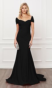 Image of off-the-shoulder long formal prom dress with train. Style: NA-21-E497 Front Image