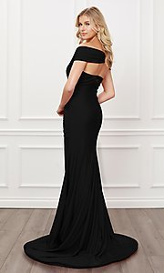 Image of off-the-shoulder long formal prom dress with train. Style: NA-21-E497 Back Image