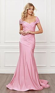 Image of off-the-shoulder long formal prom dress with train. Style: NA-21-E497 Detail Image 8