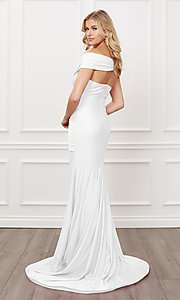 Image of off-the-shoulder long formal prom dress with train. Style: NA-21-E497 Detail Image 2