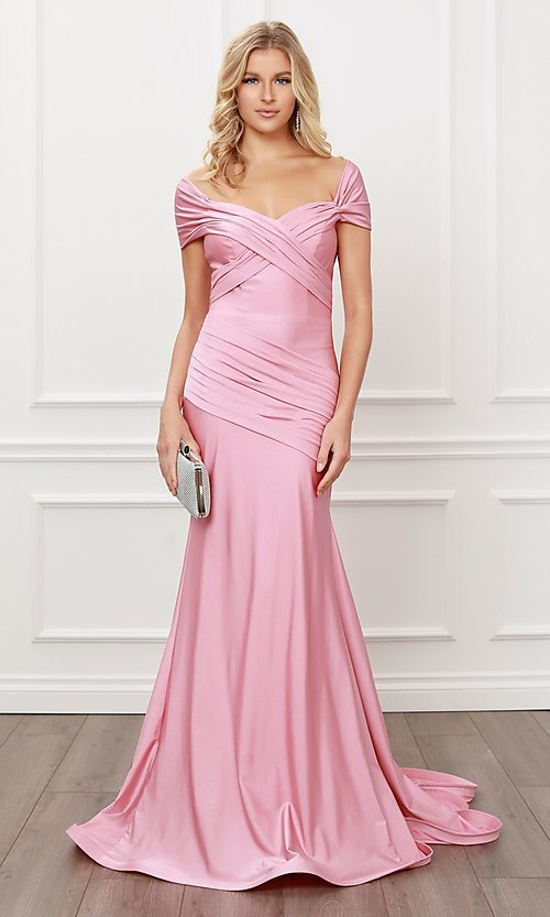 Image of off-the-shoulder long formal prom dress with train. Style: NA-21-E497 Detail Image 5