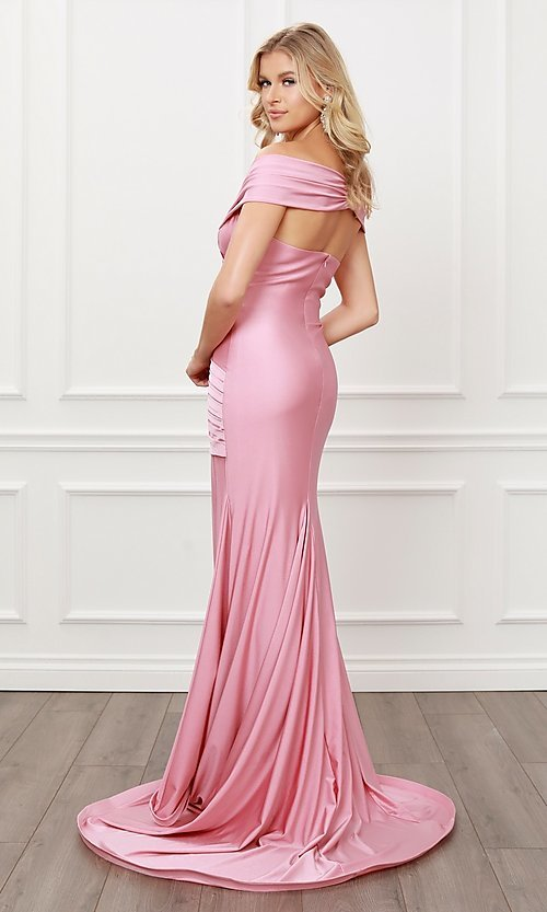 Image of off-the-shoulder long formal prom dress with train. Style: NA-21-E497 Detail Image 6