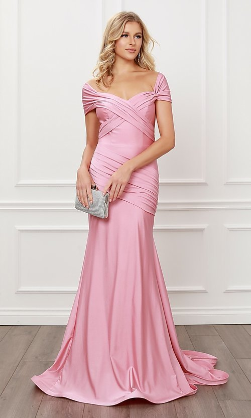 Image of off-the-shoulder long formal prom dress with train. Style: NA-21-E497 Detail Image 7