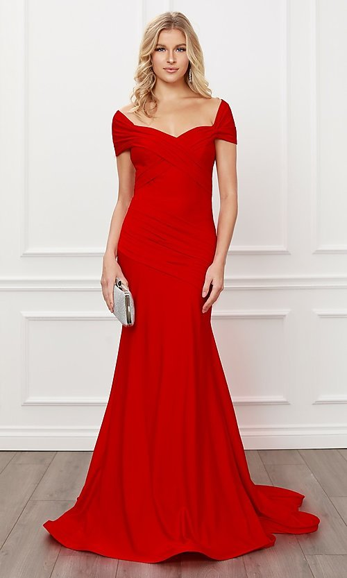 Image of off-the-shoulder long formal prom dress with train. Style: NA-21-E497 Detail Image 3
