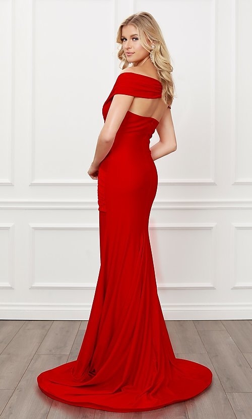 Image of off-the-shoulder long formal prom dress with train. Style: NA-21-E497 Detail Image 4