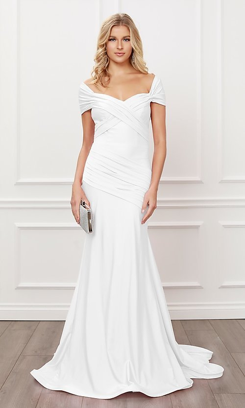 Image of off-the-shoulder long formal prom dress with train. Style: NA-21-E497 Detail Image 1