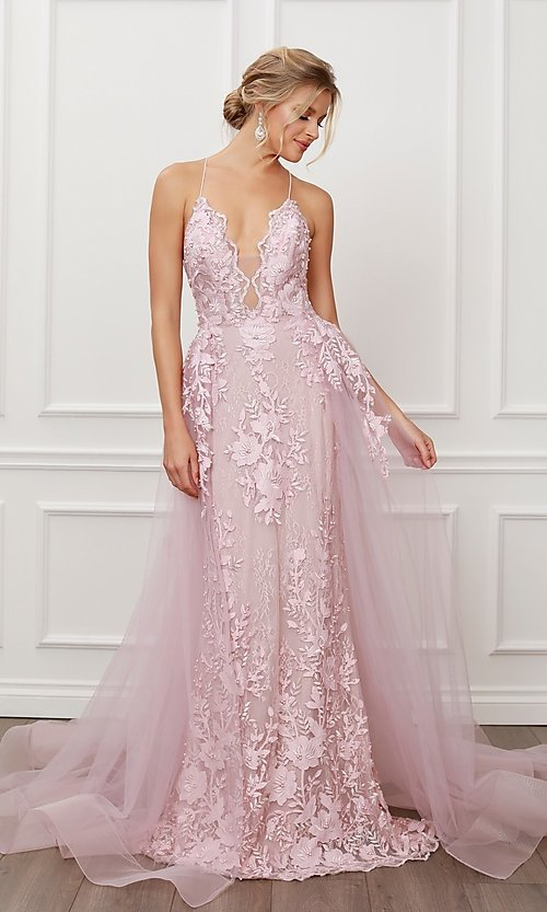 Image of long blush pink lace prom dress with tulle skirt. Style: NA-21-F485 Front Image