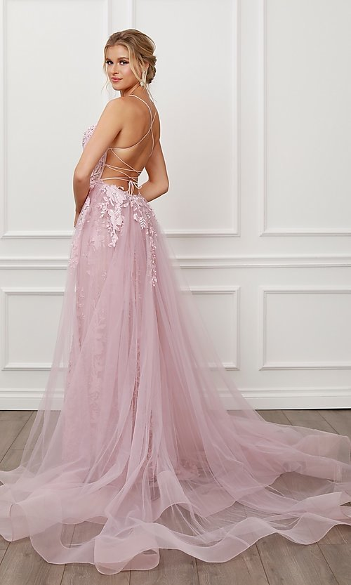 Image of long blush pink lace prom dress with tulle skirt. Style: NA-21-F485 Back Image