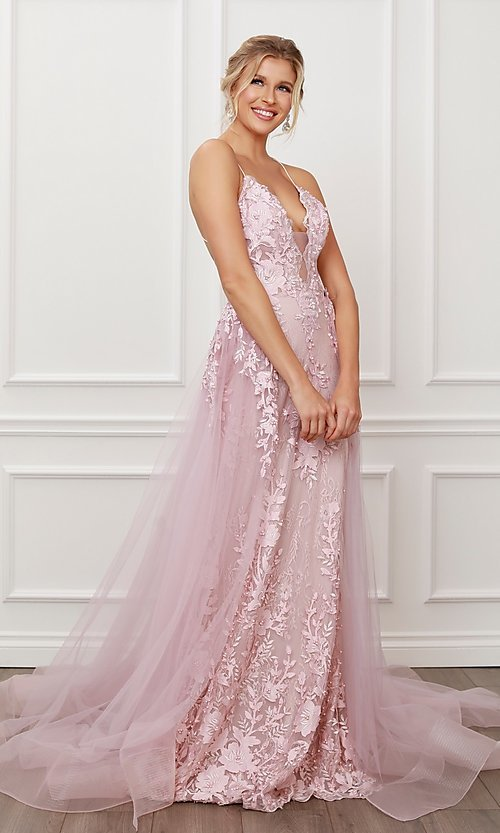 Image of long blush pink lace prom dress with tulle skirt. Style: NA-21-F485 Detail Image 1
