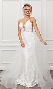 Image of long white lace formal gown with tulle overskirt. Style: NA-21-F485W Front Image