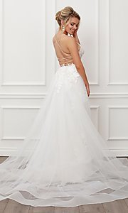 Image of long white lace formal gown with tulle overskirt. Style: NA-21-F485W Back Image