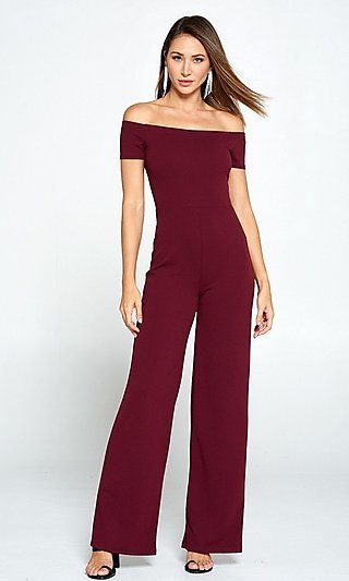 Burgundy Classic Formal Jumpsuit with Short Sleeves