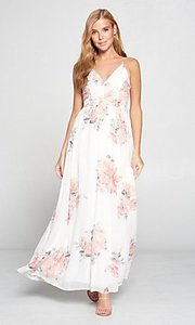 Image of lace-back floral print ivory white long maxi dress. Style: LAS-LOV-21-MD1788L Front Image