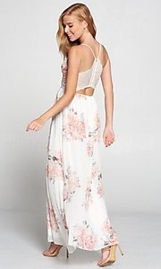 Image of lace-back floral print ivory white long maxi dress. Style: LAS-LOV-21-MD1788L Detail Image 1