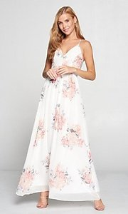Image of lace-back floral print ivory white long maxi dress. Style: LAS-LOV-21-MD1788L Detail Image 2